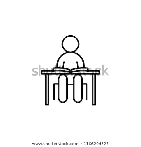 Student Class at Desks Icon Vector Outline Illustration Stock photo © pikepicture