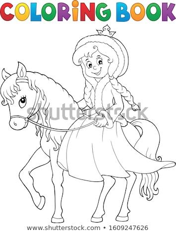 Libro da colorare principessa inverno vestiti ragazza albero Foto d'archivio © clairev