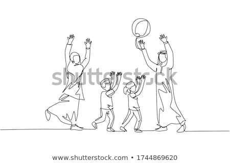 Muszlim fiú játszik labda izolált illusztráció Stock fotó © bluering