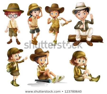 Chłopca safari kostium biały ilustracja szczęśliwy Zdjęcia stock © bluering