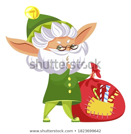Winter Christmas Card Elf Holding Bag Sack Vector Stock photo © robuart