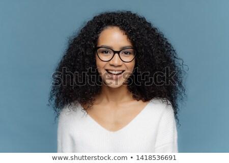 Fotoğraf karanlık kadın saç gülümsüyor Stok fotoğraf © vkstudio