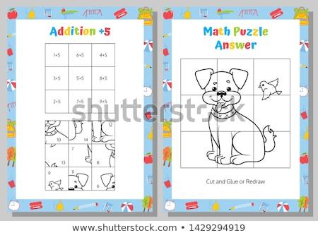 maths addition educational task with dogs Stock photo © izakowski
