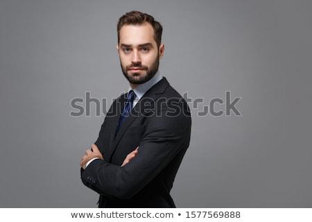 Masculino gerente branco camisas terno preto amarrar Foto stock © vkstudio