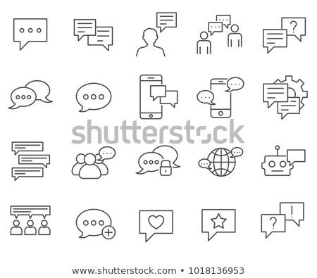 Könyv megbeszélés párbeszéd ikon vektor skicc Stock fotó © pikepicture