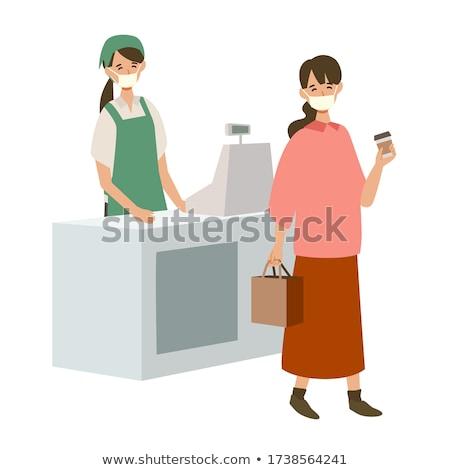Femme ordre garçon café vecteur Photo stock © robuart