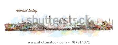 Abstract Istanbul Skyline with Color Landmarks.  Stock photo © ShustrikS