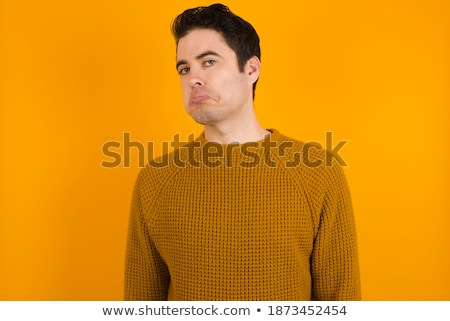 Skeptical, disappointed and doubtful handsome young man, frowning and grimacing from dislike, indeci Stock photo © benzoix