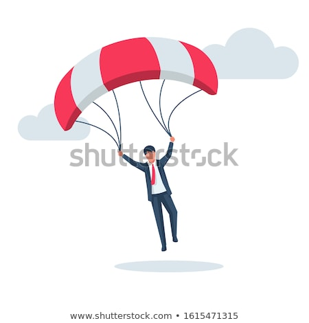 Young businessman falling on parachute in business concept Stock photo © Elnur