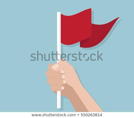 Rood vlag hand witte wereld teken Stockfoto © butenkow