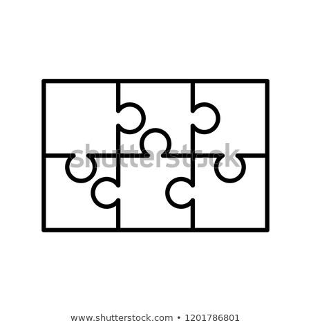 Fehér darabok téglalap forma kirakós játék sablon Stock fotó © evgeny89