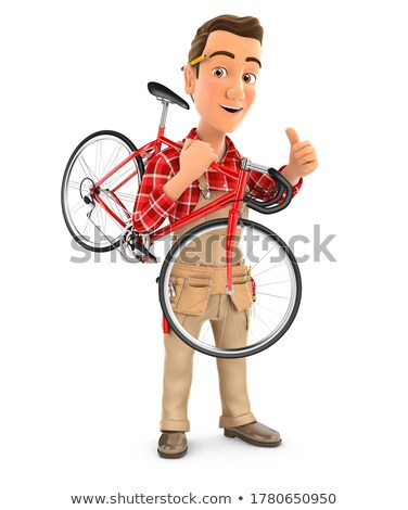 3d handyman carrying bicycle on his shoulder Stock photo © 3dmask