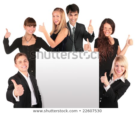 business people group with ok gesture and paper for text stock photo © paha_l