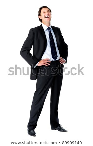 Confident Caucasian Businessman Hands on Hips, Suit, Isolated Wh Stock photo © Qingwa