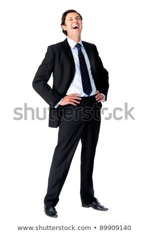 caucasiano · empresário · mãos · quadris · terno · isolado - foto stock © Qingwa