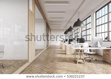 オフィス · インテリア · ビジネス · ルーム · 緑 · デスク - ストックフォト © Petkov
