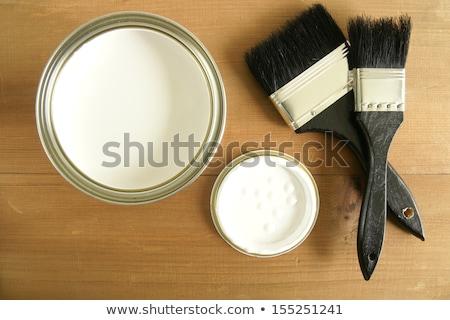 festő · edény · fehér · festék · fal · otthon - stock fotó © photography33