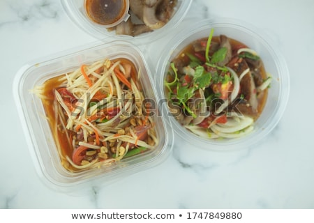 Traditional thai spicy salad with meat and vegetables. Very shal Stock photo © moses