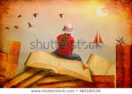 teenage girl dreaming over books stock photo © simply