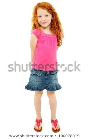 Güzel kız kırmızı etek güzel bir kadın gri kadın Stok fotoğraf © fotorobs