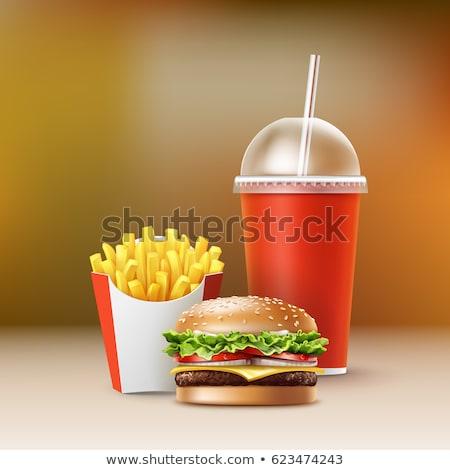 Burger papas fritas cartón rápido alimentos poco saludables blanco Foto stock © bobbigmac