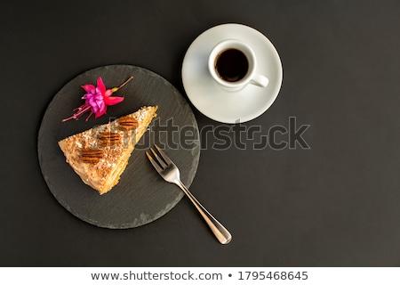 gâteau · au · chocolat · argent · fourche · tranche · noir · plaque - photo stock © theprophet