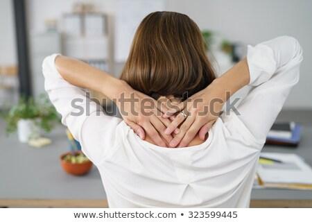 vrouw · vergadering · bureau · nek · hand · gezondheid - stockfoto © photography33