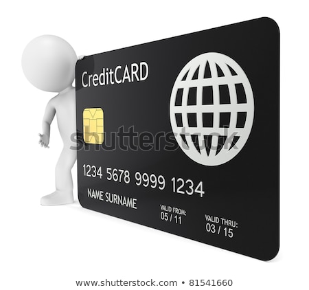 3D little human character holding a Credit Card Stock photo © JohanH