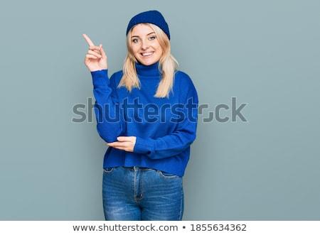 woman in wool sweater and cap Stock photo © imarin