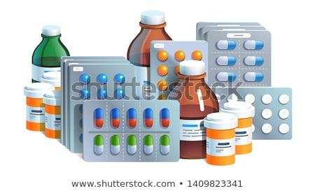 Branco medicina azul garrafa pílulas Foto stock © Melpomene