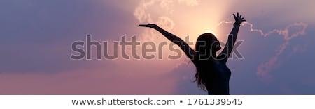 Gyönyörű fiatal nő karok a magasban áll tengerpart víz Stock fotó © REDPIXEL
