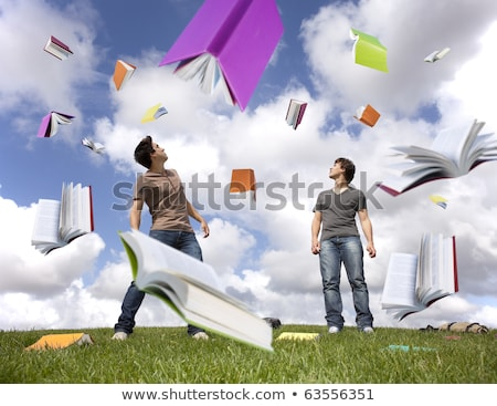 молодые · несчастный · студент · книгах · домашнее · задание - Сток-фото © stuartmiles
