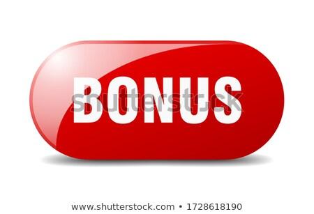 Stockfoto: Bonus · knop · Blauw · woord · business