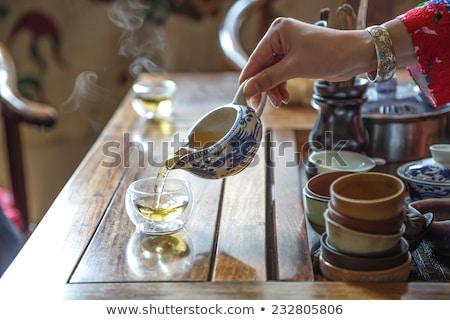 Kínai tea szertartás adag esküvő ital Stock fotó © szefei