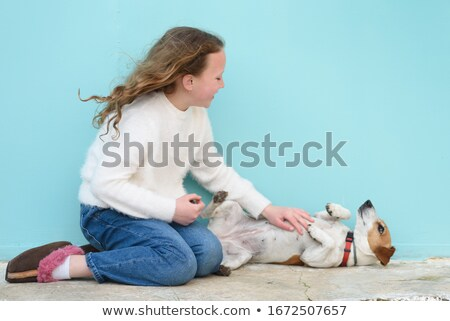 Photo stock: Femme · chien · sourire · amour