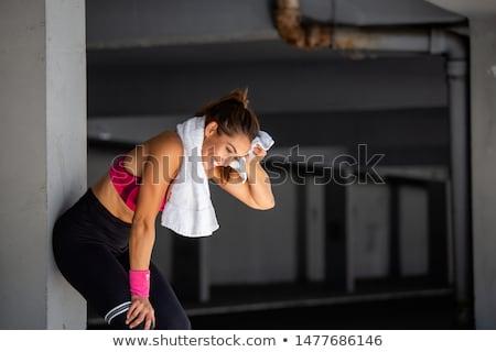 Pihen képzés gyönyörű középkorú nő padló nők Stock fotó © Photoline