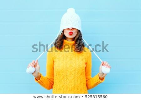Stock fotó: Tél · lány · gyönyörű · barna · hajú · visel · szőrös