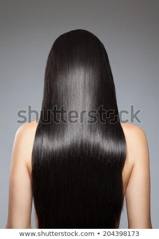 Longo em linha reta cabelo preto unhas vermelhas mulher mão Foto stock © Melpomene