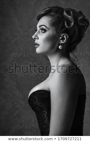 портрет молодые брюнетка изолированный Сток-фото © acidgrey