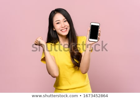 atraente · feliz · asiático · mulher · indicação · fora - foto stock © stryjek