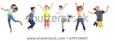 Küçük çocuk atlama eğlence atlamak spor Stok fotoğraf © ia_64