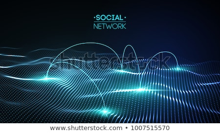 Stock photo: 3D People Business Net on Dark Background
