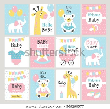 baba · zuhany · kártya · aranyos · zsiráf · játék - stock fotó © balasoiu