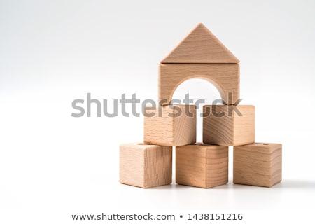 drie · hout · speelgoed · huizen · onderwijs · Blauw - stockfoto © paha_l