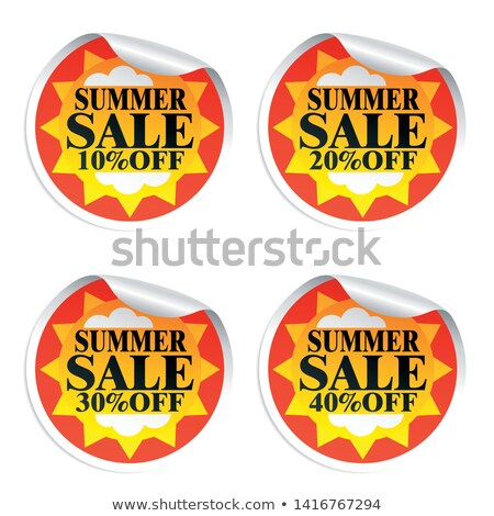 Stock photo: Summer Discount And 40 Percentages Off In Label With Sun