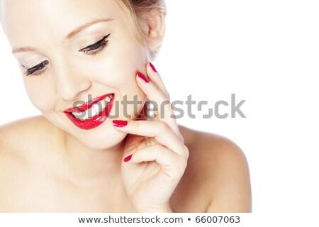 Eyeliner schoonheid meisje oog make-up manicure rode lippen Stockfoto © Victoria_Andreas