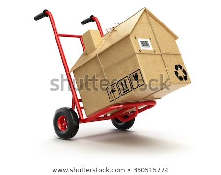Bewegende hand vrachtwagen leuze witte Stockfoto © tashatuvango