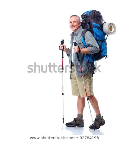Kıdemli adam sırt çantası yürüyüş yalıtılmış beyaz Stok fotoğraf © AndreyPopov