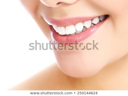 Stock photo: Cheerful Female With Fresh Clear Skin White Background