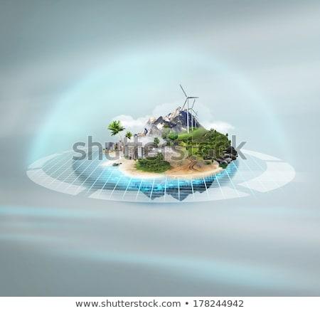 Jobb világ projekt idilli sziget technológiai Stock fotó © HASLOO